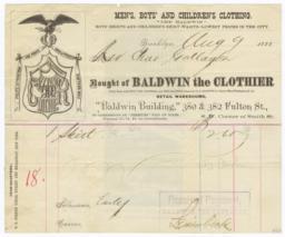 Baldwin the Clothier. Bill - Verso