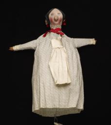 Female Hand Puppet With Black And White Dress And White Apron