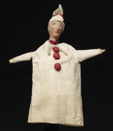 Clown Hand Puppet Dressed In White And Red