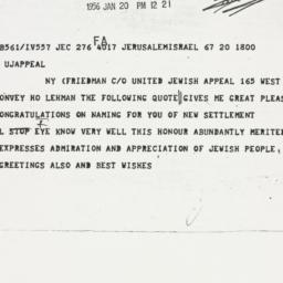 Telegram: 1956 January 20