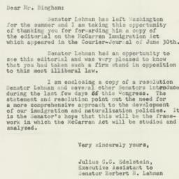 Letter: 1952 July 14