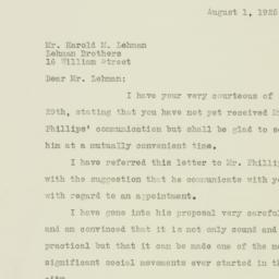 Letter: 1925 August 1