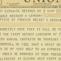 Telegram: 1943 May 3