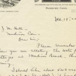 Malloy Hat Co.. Letter