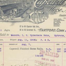 Capewell Horse Nail Co.. Bill