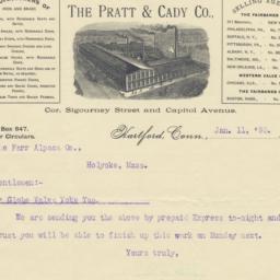 Pratt & Cady Co.. Letter