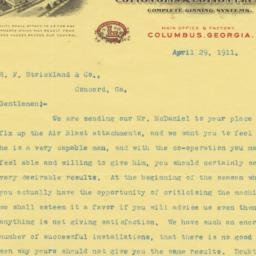 Lummus Cotton Gin Co.. Letter