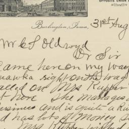 Union Hotel. Letter