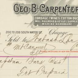Geo. B. Carpenter & Co.. Bill