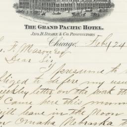 Grand Pacific Hotel. Letter