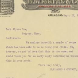 H. M. Marks. Letter