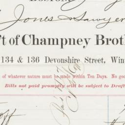 Champney, Brothers & Co.. Bill