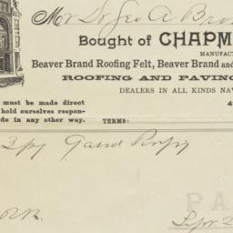 Chapman & Soden. Bill