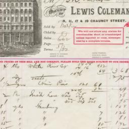 Lewis Coleman & Co.. Bill