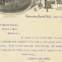 Crompton Loom Works. Letter