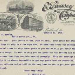 E. Swasey & Company. Letter