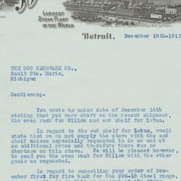 Detroit Stove Works. Letter
