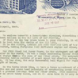 Collins Plow Company. Letter