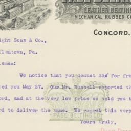 Page Belting Company. Letter
