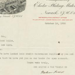 Hanson Van Winkle Co.. Letter