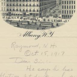 Keeler's. Letter
