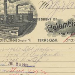 Columbia Machine Works. Bill