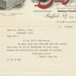 Larkin Soap Company. Letter
