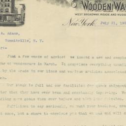 C. H. & E. S. Goldberg. Letter