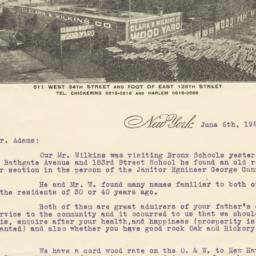 Clark & Wilkins Co.. Letter
