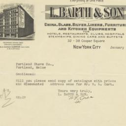 L. Barth & Son. Letter