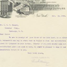 Mayor, Lane & Co.. Letter
