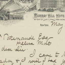 Murray Hill Hotel. Letter