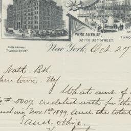 Park Avenue Hotel. Letter