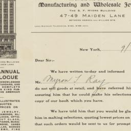S.F. Myers & Co.. Letter