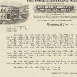 Baker Bottling Works. Letter