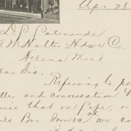 Hotel Keplinger. Letter