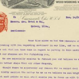 J.A. Fay & Egan Co.. Letter