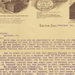 Detrick Distilling Co.. Letter