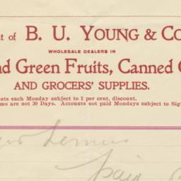 B. U. Young & Co.. Bill
