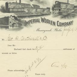 Imperial Woolen Company. Bill