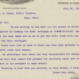 E. I. Bowe. Letter