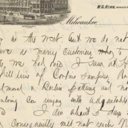 Plankinton House. Letter