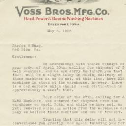 Voss Bros. Mfg. Co.. Letter