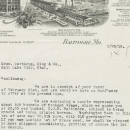 J. Bolgiano & Son. Letter