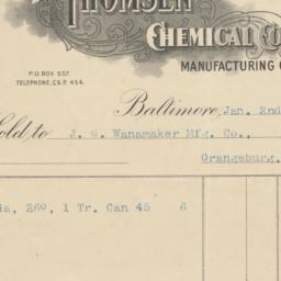 Thomsen Chemical Company. Bill