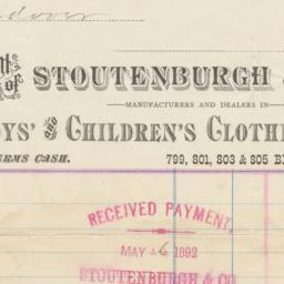 Stoutenburgh & Co.. Bill