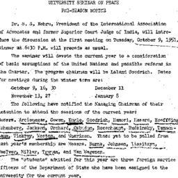 Announcements, 1951-09-30. ...