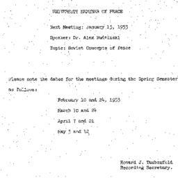 Announcements, 1953-01-13. ...