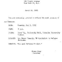 Announcements, 1955-04-15. ...