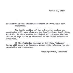 Announcements, 1950-04-20. ...